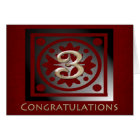 Employee 3 Year Anniversary Elegant Golden Red Card