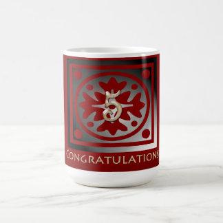 Employee 5th Anniversary Elegant Golden Red Coffee Mug