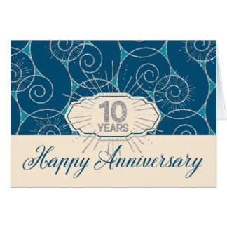 Employee Anniversary 10 Years - Blue Swirls Card