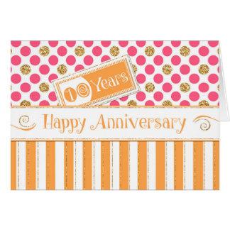 Employee Anniversary 10 Years Orange Pink Card