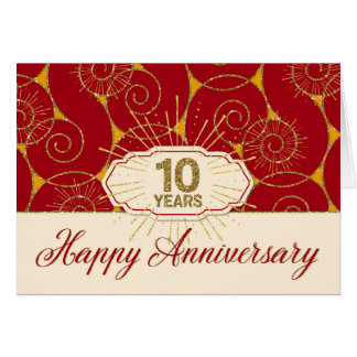Employee Anniversary 10 Years - Red Swirls Card