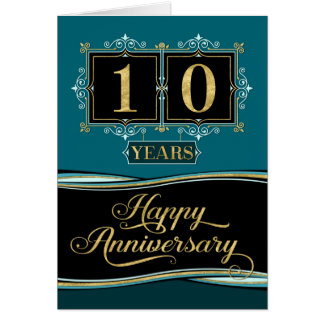 Employee Anniversary 10 Yrs Decorative Formal Jade Card