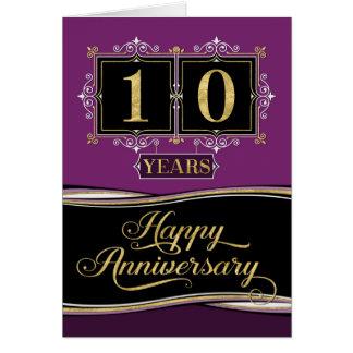 Employee Anniversary 10 Yrs Decorative Formal Plum Card