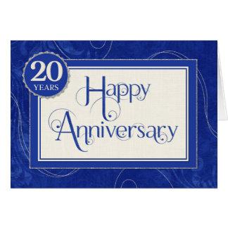 Employee Anniversary 20 Years - Text Swirls Blue Card