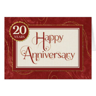 Employee Anniversary 20 Years - Text Swirls Damask Card
