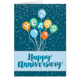 Employee Anniversary 2 Years - Balloons Confetti Card