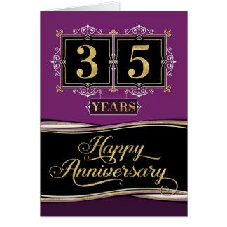 Employee Anniversary 35 Yrs Decorative Formal Plum Card