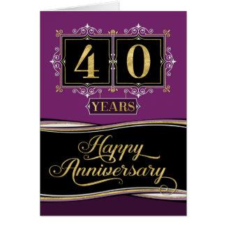 Employee Anniversary 40 Yrs Decorative Formal Plum Card