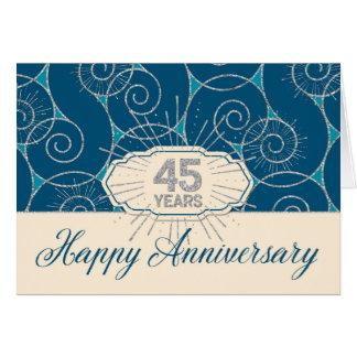 Employee Anniversary 45 Years - Blue Swirls Card