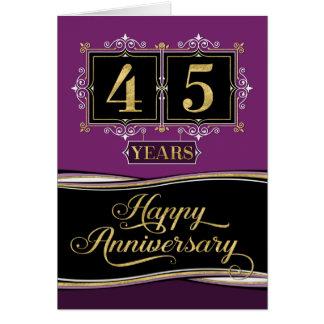 Employee Anniversary 45 Yrs Decorative Formal plum Card