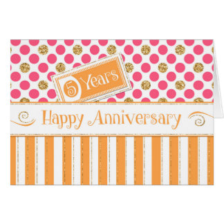 Employee Anniversary 5 Years Orange Pink Card