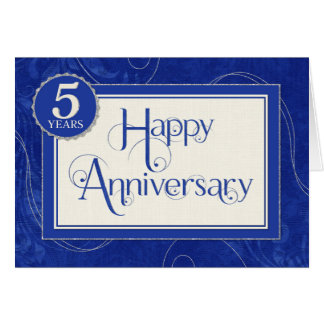Employee Anniversary 5 Years - Text Swirls Blue Card