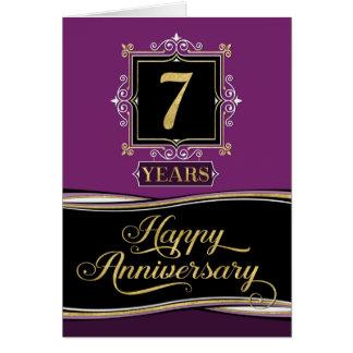 Employee Anniversary 7 Year Decorative Formal Plum Card
