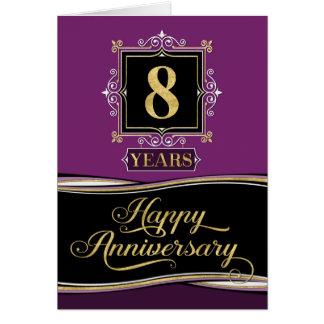 Employee Anniversary 8 Year Decorative Formal Plum Card