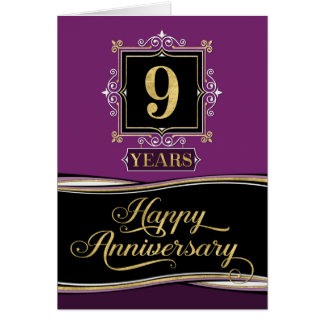 Employee Anniversary 9 Year Decorative Formal Plum Card