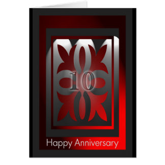 Employee Anniversary Cards 10 Years Red and Black