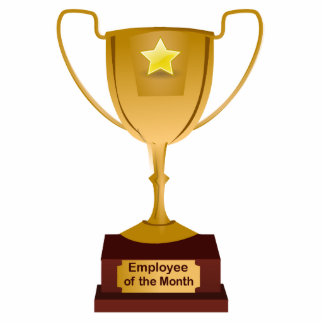 Employee of the Month Award, Golden Trophy Standing Photo Sculpture