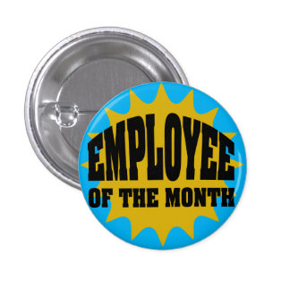 Employee of the Month gold and blue 3 Cm Round Badge
