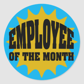 Employee of the Month gold and blue Stickers