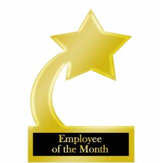 Employee of the Month, Gold Star Award Trophy Standing Photo Sculpture