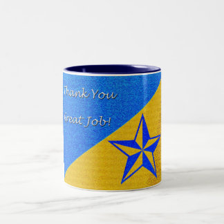 Employee Recognition Blue Star Two-Tone Mug