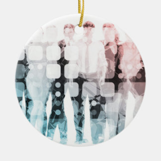 Empowered Professionals Working as a Team Concept Ceramic Ornament