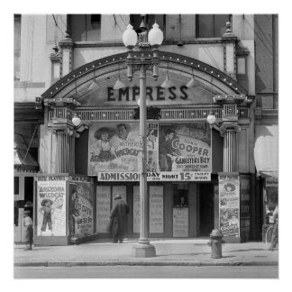 Empress Movie Theater, 1939. Vintage Photo Poster