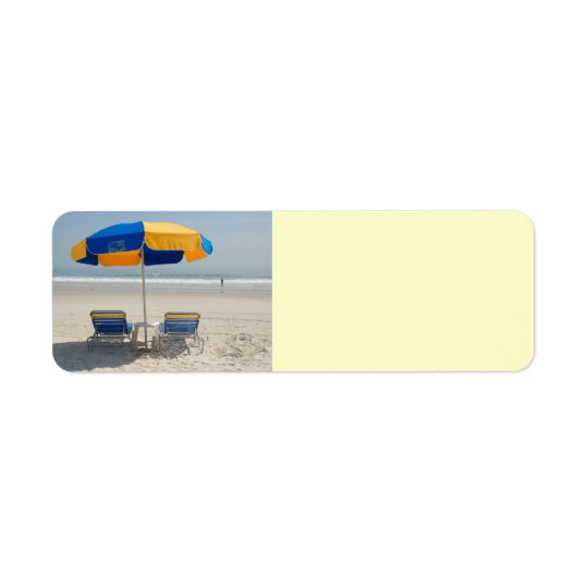 empty beach chairs return address label