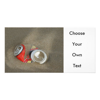 Empty Beer Can in Sand Photo Greeting Card