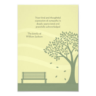 Empty Bench Bereavement Thank You Notecard