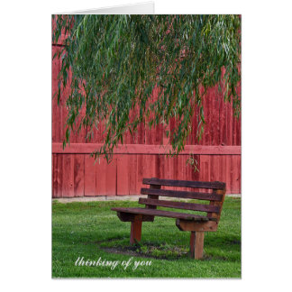 empty bench under willow tree card