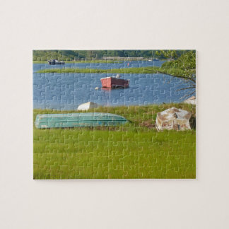 Empty Boats Picturesque Cape Cod Inlet and Marsh Jigsaw Puzzle