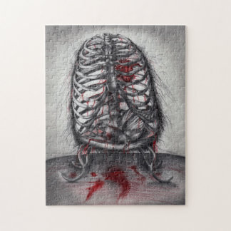 Empty Cage Anatomy Horror Original Art Puzzle