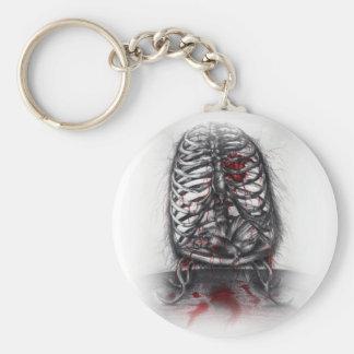 Empty Cage Human Anatomy Rib Surreal Horror Art Basic Round Button Key Ring
