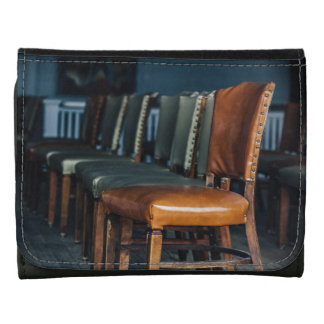 Empty Chairs at the Music Hall Leather Wallet