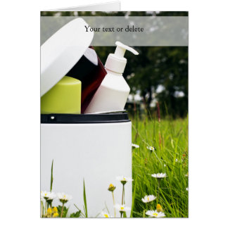 Empty cosmetics bottles | greeting card