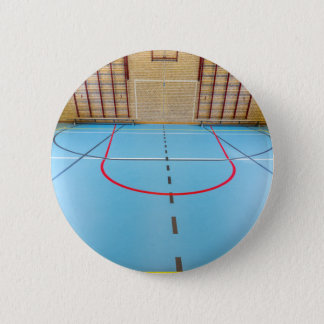 Empty european gymnasium for school sports 6 cm round badge