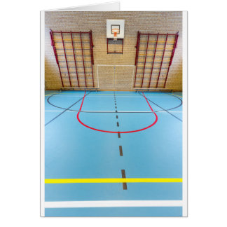Empty european gymnasium for school sports card