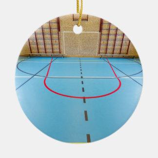 Empty european gymnasium for school sports ceramic ornament