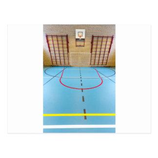 Empty european gymnasium for school sports postcard