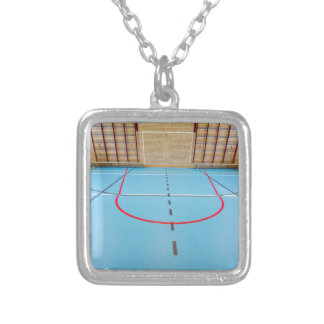Empty european gymnasium for school sports silver plated necklace