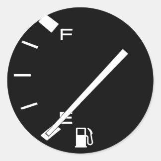 Empty Gas Tank Round Sticker