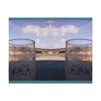 Empty glass at Beach Photo mirror 2 Canvas Print