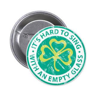 Empty Glass Shamrock Pinback Button