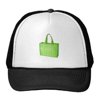 Empty green reusable grocery bag trucker hats