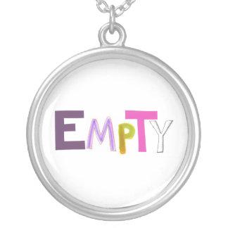 Empty hollow still quiet vacant zen color word art necklace