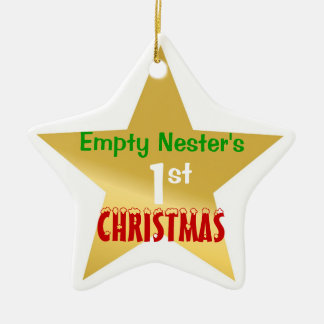 Empty Nest 1st Christmas Gold Star Ceramic Ornament