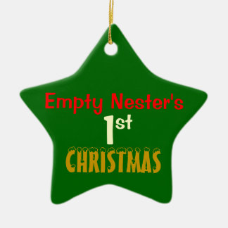 Empty Nest 1st Christmas Green Star Ceramic Ornament