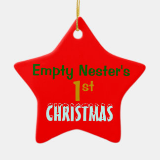 Empty Nest 1st Christmas Red Star Ceramic Ornament
