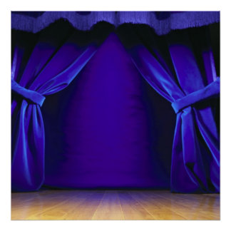 Empty Stage With Curtains Poster